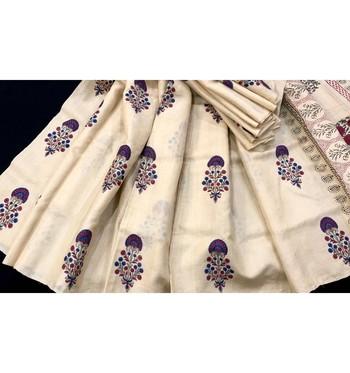 Cream Block Printed Tussar Silk Saree Without Blouse
