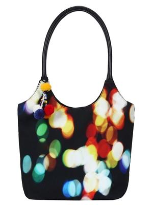 Anekaant Tabernacle Black and Multicoloured Printed Canvas Handbag