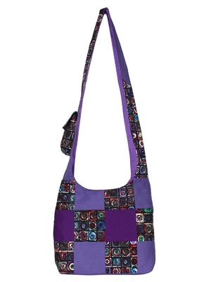 Anekaant Motley Purple and Multicoloured Printed Canvas Sling Bag