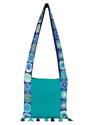 Anekaant Motley Turquoise and Multicoloured Canvas Sling Bag