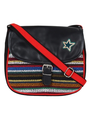 Anekaant Swanky Black and Multicoloured Cotton Jacquard and Leatherette Sling Bag