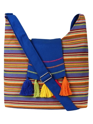 Anekaant Fringed Blue and Multicoloured Striped Cotton Sling Bag