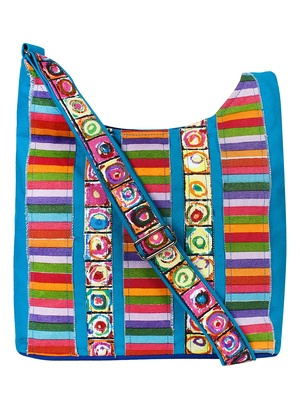 Anekaant Motley Blue Multicoloured Striped Cotton Sling Bag