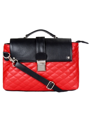 Anekaant Glaze Red and Black Leatherette Sling Bag