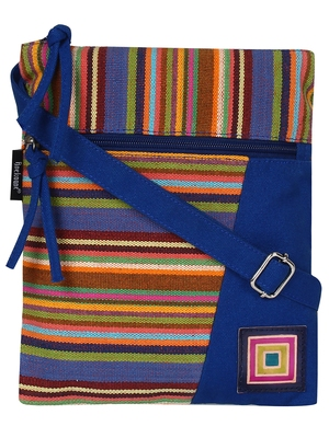 Anekaant Mini Blue and multicoloured Cotton Sling Bag