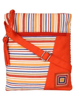 Anekaant Mini Orange and multicoloured Cotton Sling Bag