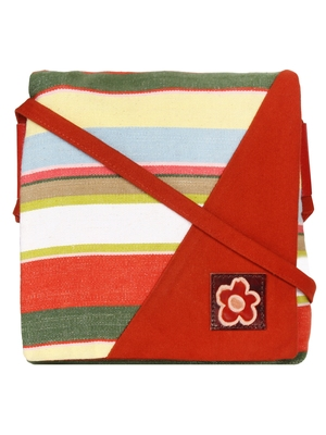 Anekaant Steady Red and  Multicoloured Cotton Sling Bag