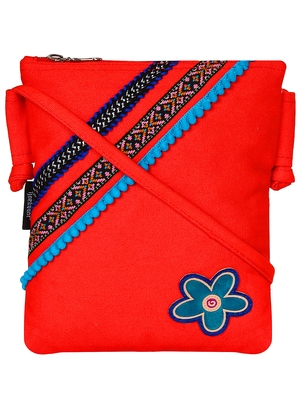 Anekaant Steady Red Cotton Sling Bag