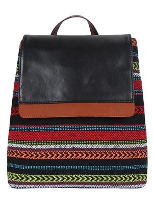 Anekaant Striped Multicoloured cotton jacquard backpack