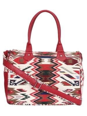 Anekaant Ikkat Maroon and Multicoloured Jacquard and Cotton Handbag