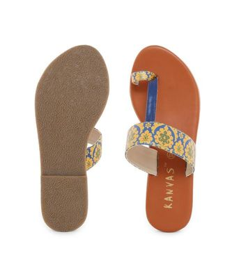 Yellow printed synthetic kolhapuris womens footwear
