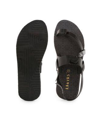 Black printed synthetic sandals womens footwear
