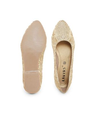 Gold solid synthetic ballerinas womens footwear