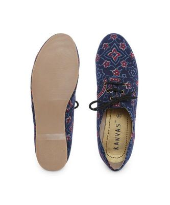 Blue solid synthetic oxfords womens footwear