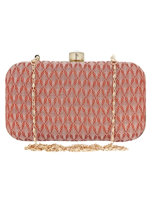 Anekaant Miniaudiere Peach Evening Clutch Bag