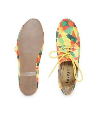 Yellow solid synthetic oxfords womens footwear