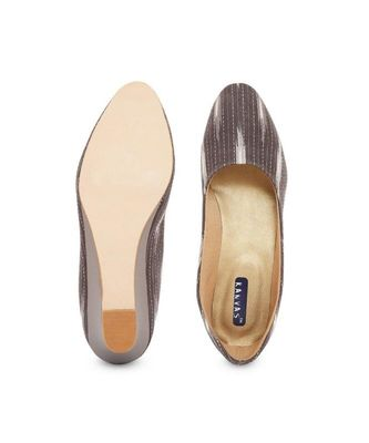 Brown solid textile heeled womens footwear