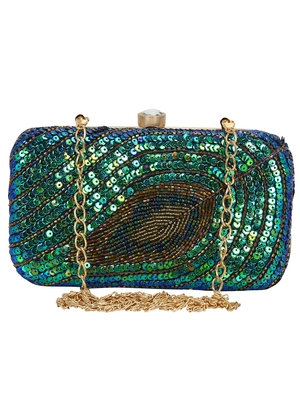 Anekaant Ethnique Blue and Green Party Clutch Bag