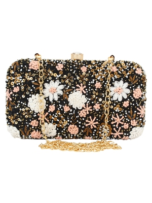 Anekaant Ethnique Blue and Multicoloured Party Clutch Bag