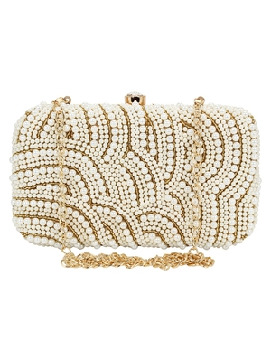 Anekaant Ethnique Gold and White Party Clutch Bag