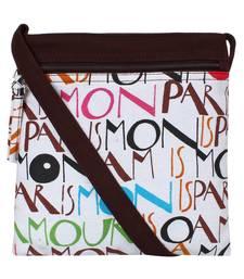 Anekaant La Borsa Alphabet Print Canvas Sling Bag Brown