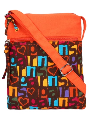 Anekaant La Borsa Alphabet Print Canvas Sling Bag Orange