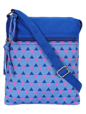 Anekaant La Borsa Geometric Print Canvas Sling Bag Royal Blue