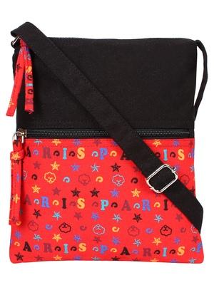 Anekaant La Borsa Alphabet Print Canvas Sling Bag Black and Red