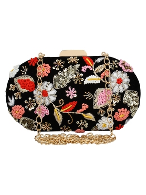 Anekaant Ethnic Embroidered Party Clutch Bag Black and Multicolour