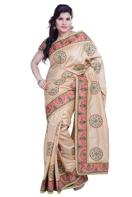 Beige Embroidered Art Silk Saree With Blouse