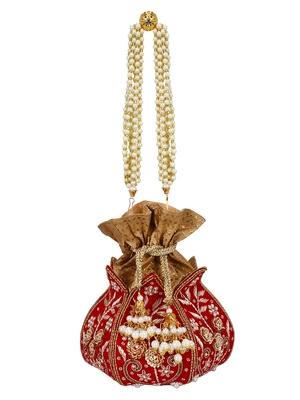 Anekaant Lotus Artsilk Party Potli Bag Red and Gold