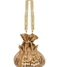 Anekaant Lotus Artsilk Party Potli Bag Gold