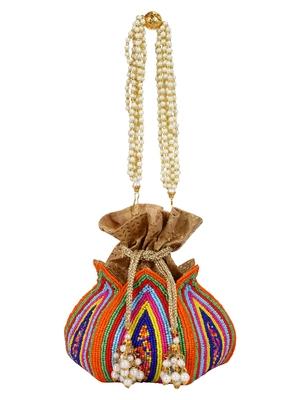Anekaant Lotus Artsilk Party Potli Bag Multicoloured