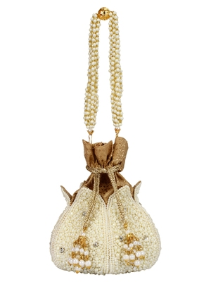 Anekaant Lotus Artsilk Party Potli Bag White and Gold