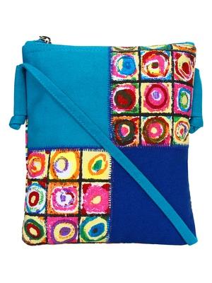 Anekaant Classy Blue Cotton Sling bag