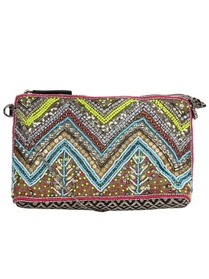 Anekaant Diamondus Multicoloured Beaded Cotton Sling bag