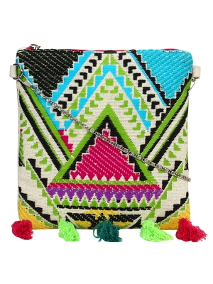 Anekaant Spruce Green & Multicoloured Jacquard and Cotton Sling bag