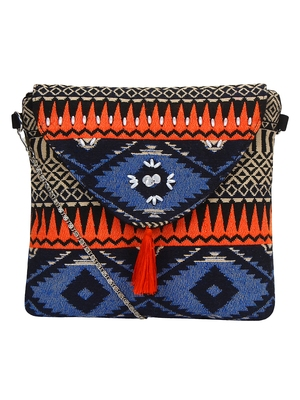 Anekaant Spruce Orange & Multicoloured Jacquard and Cotton Sling bag