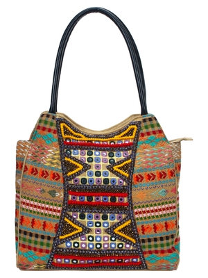 Anekaant Fleecy Multicoloured Beaded Jacquard and Cotton Handbag