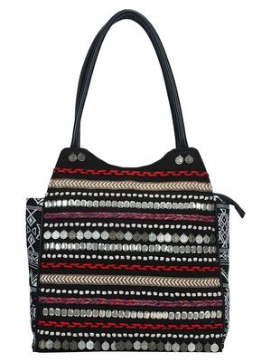 Anekaant Glitzy Black & Multicoloured Jacquard and Cotton Handbag