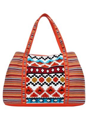 Anekaant Embroider Orange & Multicoloured Jacquard Handbag