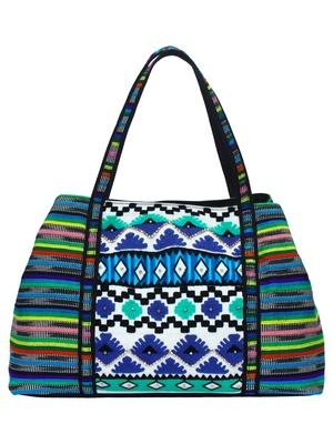 Anekaant Embroider Green & Multicoloured Jacquard Handbag