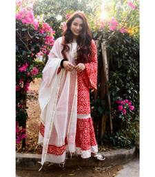 Red Bandhani Chanderi Suit Set