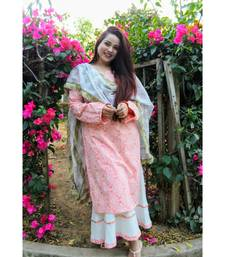 Peach Khadi Print Suit Set