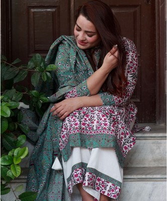 Mughal Dark Teal Floral Suit Set