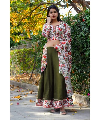 Olive Green Floral Bageecha Lehnga Set