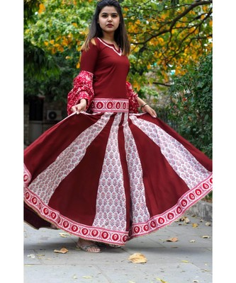 Marroon Butta Kalidaar Lehnga Set