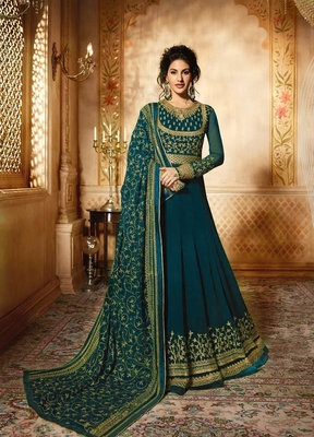Turquoise embroidered faux georgette anarkali with dupatta