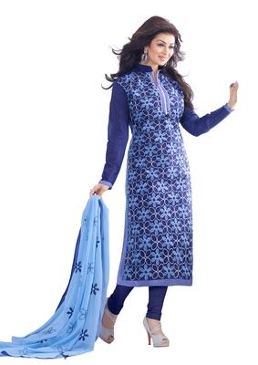 blue woven chanderi unstitched salwar with dupatta