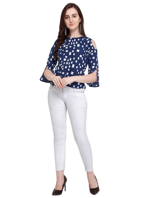 Navy Blue Printed Crepe Party Tops